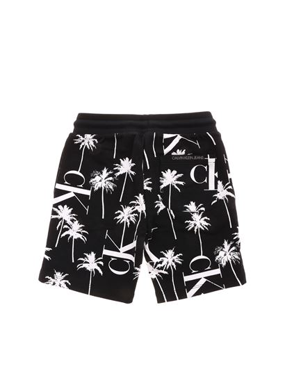Calvin Klein Jeans - Palms pattern bermuda in black