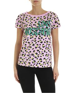 Love Moschino - T-shirt in pink with all-over animal print