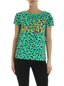 Love Moschino - T-shirt in green with all-over animal print