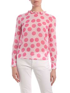be Blumarine - Pink polka dot blouse with curled detail