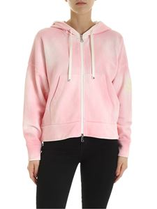 Moncler - Delavè faded effect crop hoodie in pink