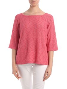 Kangra Cashmere - Boat neck sweater in pink and orange