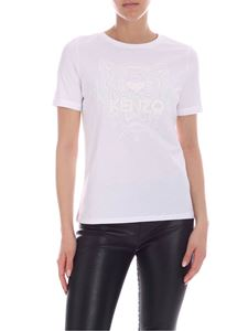 Kenzo - T-shirt Tiger bianca con stampa glitter