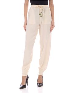 Etro - Silk pants with tassels in cream color