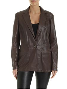 Simonetta Ravizza - Single breasted openwork leather jacket in brown