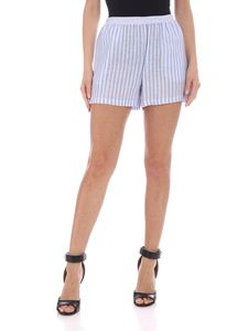 Ermanno Scervino - Striped linen shorts in blue and white