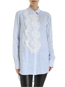 Ermanno Scervino - Striped linen shirt in macramé detail