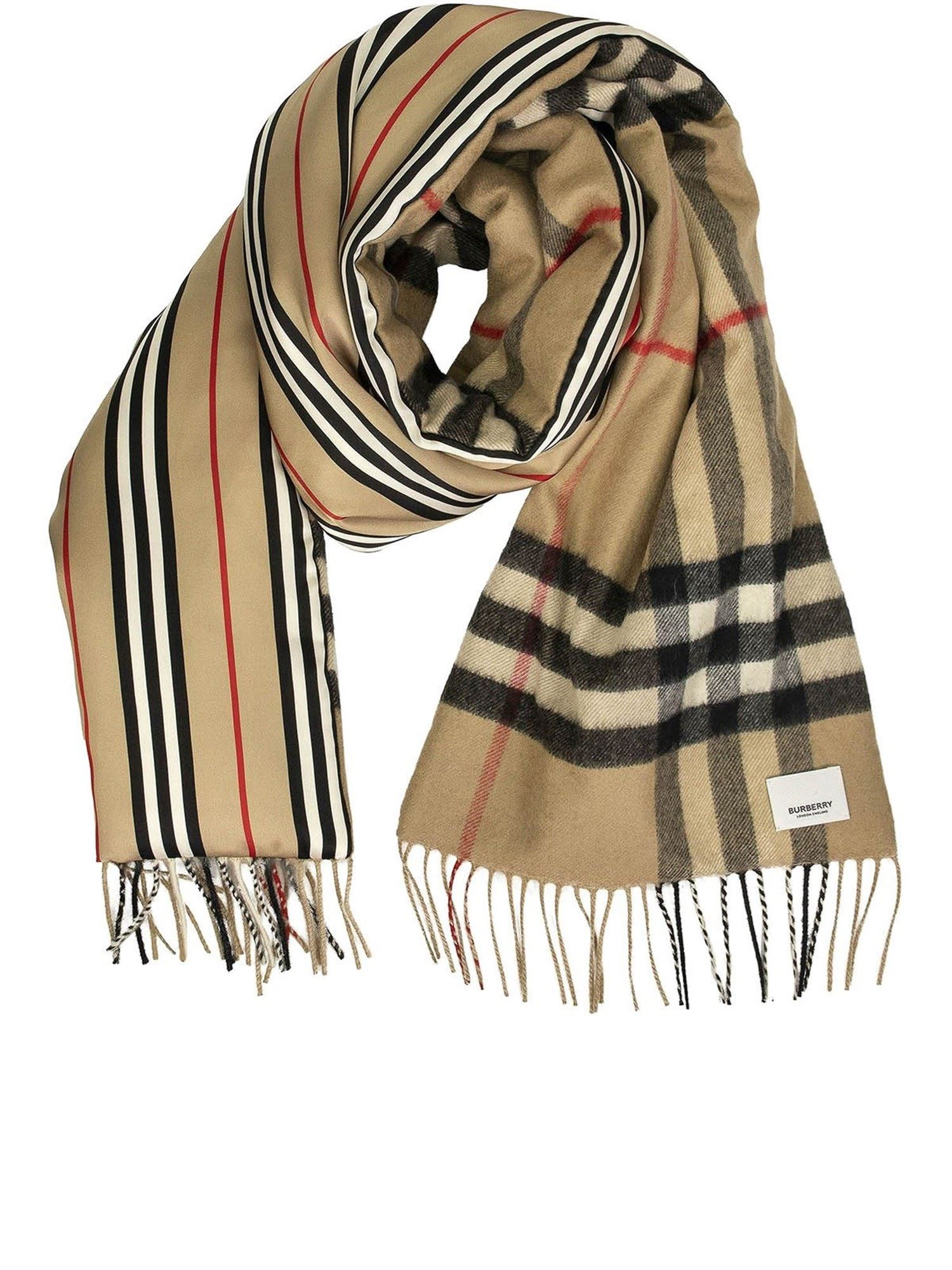 Burberry Tartan And Icon Stripe Scarf In Beige