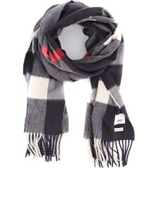 Burberry - Navy Vintage check patterned cashmere scarf