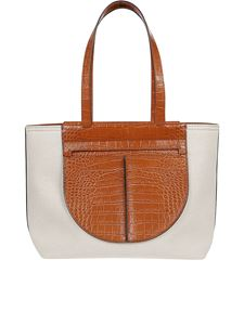 Tod's - Canvas and croco print tote
