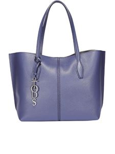Tod's - Joy medium navy hammered leather tote bag