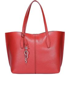 Tod's - Joy medium red hammered leather tote bag