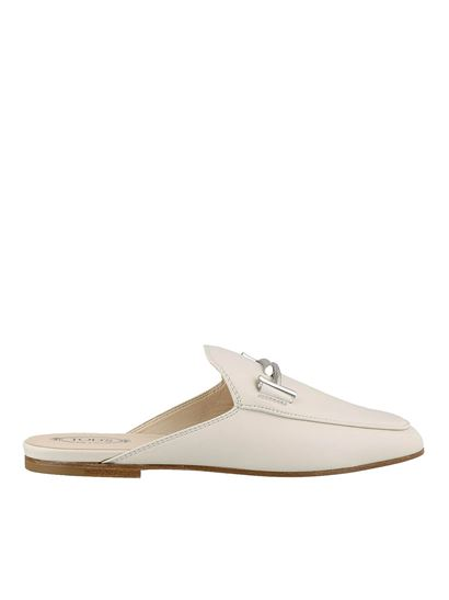 Tod's - Sabot bianchi in pelle liscia con Double T