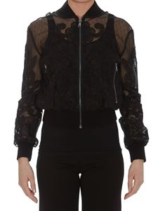 Red Valentino - Point d'esprit tulle bomber jacket
