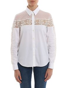 Red Valentino - Tulle and lace embellished cotton shirt