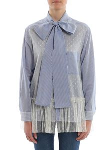 Red Valentino - Tulle embellished striped cotton long shirt