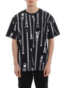 Moschino - All-over zip printed jersey T-shirt