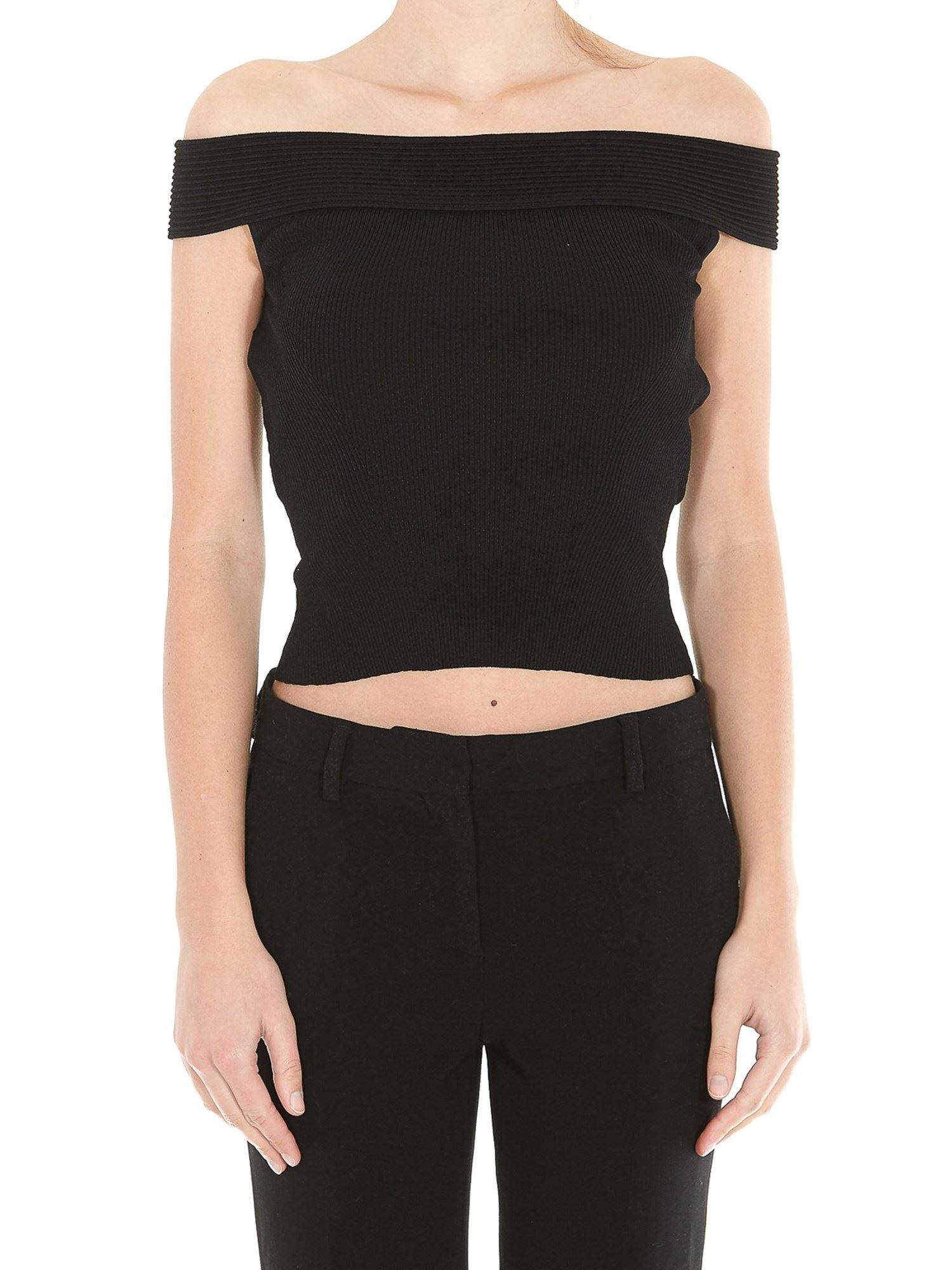 Alexander Mcqueen Stretch Knitted Top In Black