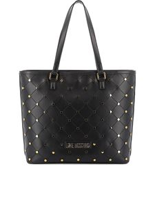 Love Moschino - Borsa shopping trapuntata con borchie