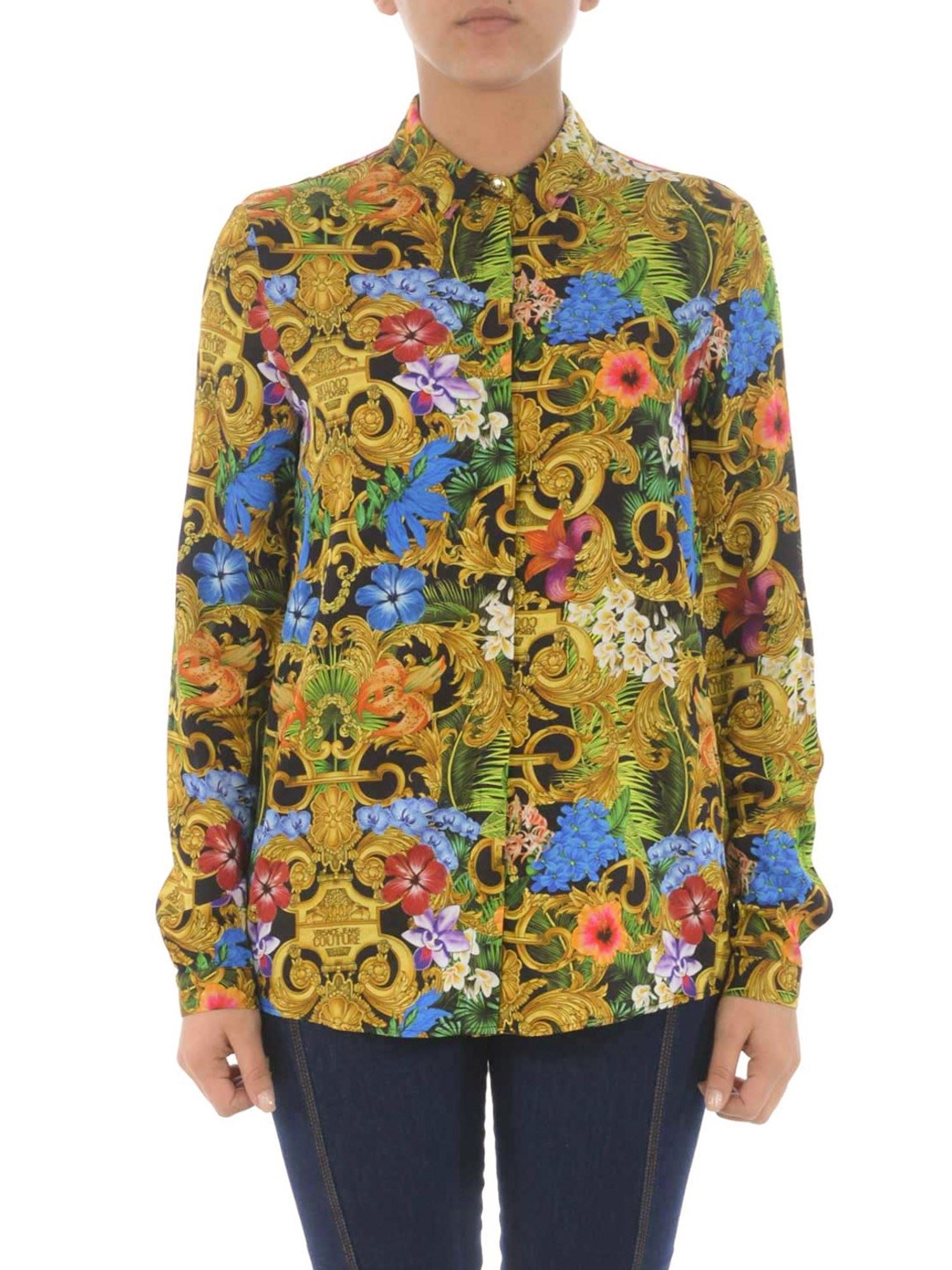 VERSACE JEANS COUTURE JUNGLE BAROQUE VISCOSE SHIRT