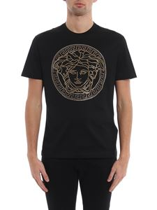 Versace - Gold-tone Medusa Head black T-shirt
