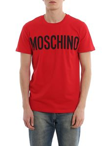 Moschino - Contrasting logo print red T-shirt