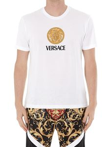 Versace - Logo embroidery cotton T-shirt
