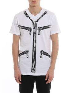 Moschino - Zip logo print white T-shirt