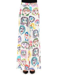 Moschino - Faces print palazzo trousers
