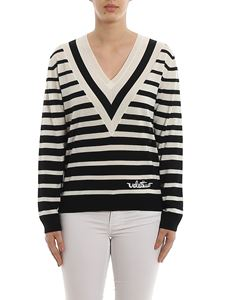 Valentino - Embroidered logo striped wool sweater