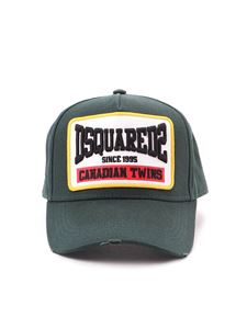 Dsquared2 - Used effect green cotton baseball cap