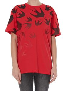 McQ Alexander Mcqueen - Swallow Degradé printed red T-shirt