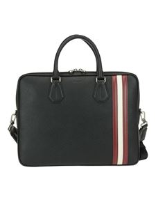 Bally - Staz black grained leather briefcase