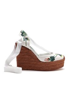 Dolce & Gabbana - Rose print leather wedge espadrilles