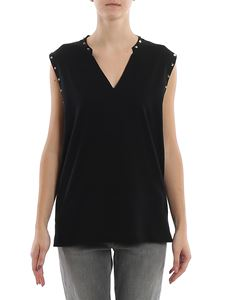 Dondup - Black studded cotton tank top