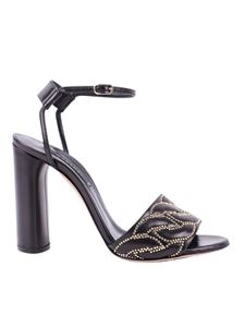 Casadei - Catenassé quilted leather rhinestone sandals