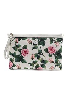 Dolce & Gabbana - Rose print top zip clutch