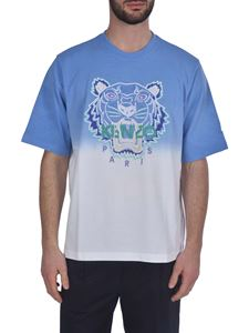 Kenzo - Dip Dye Tiger T-shirt in blue and white