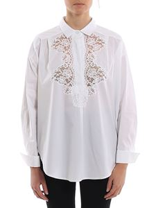 Ermanno Scervino - Lace detailed poplin blouse