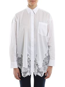 Ermanno Scervino - Poplin cotton lace hem shirt