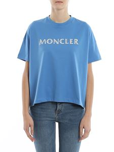 Moncler - T-shirt over in jersey con logo metallizzato