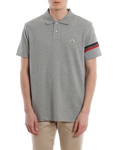 Moncler - Logo patch grey polo shirt