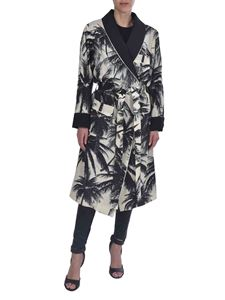 Ermanno Scervino - Black palm print overcoat in white