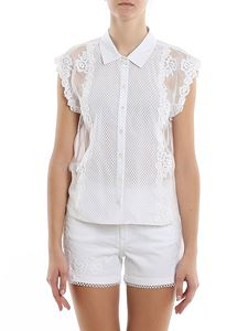 Ermanno Scervino - Mesh floral lace sleeveless shirt