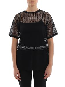 Ermanno Scervino - Lace trimmed stretch mesh T-shirt