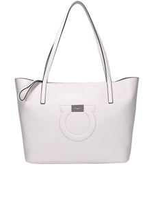 Salvatore Ferragamo - Gancini white leather tote