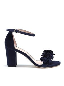 Stuart Weitzman - Nearlynude flower blue suede sandals