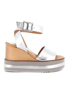 Paloma Barceló - Laminated leather wedges in silver