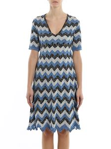 M Missoni - Chevron lurex-knit knee length dress