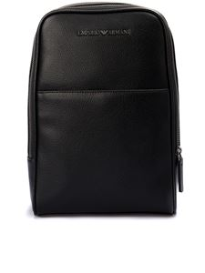 Emporio Armani - Metal logo leather backpack